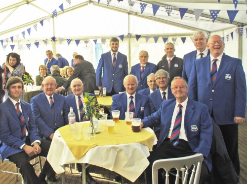 Relaxing after singing in the Shearing Marquee