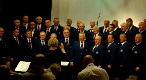 Builth Male Voice Choir at the Spring Concert as guests of Knighton Town Silver Band